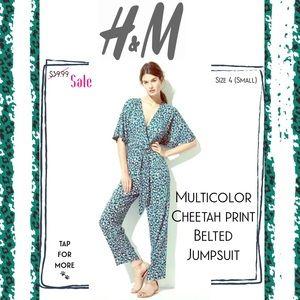 🆕 H&M • Cheetah Print Plunging V Neck Jumpsuit